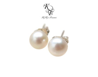 Real Pearl Earrings, Genuine Pearl Earrings, Sterling Silver Earrings, Freshwater Pearl Earrings, Pearl Earrings, Fine Jewelry, Wife Gifts