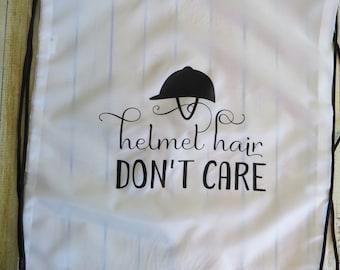 Helmet Hair Don't Care - helmet bag - drawstring backpack