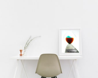 Now In Stock - Art Print of Seaham SeaGlass - overlayed with bottleworks image - From Seaham England