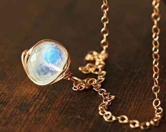 Moonstone Rose Gold Gemstone Necklace, Wrapped Rainbow Moonstone Necklace, Handmade Jewelry