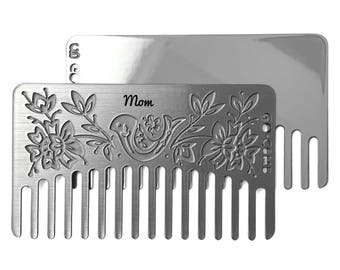 Personalized Otomi Mirror Hair Comb - Wallet & Travel Size  - Go-Comb