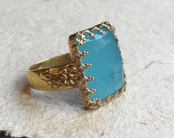 Victorian crown ring, blue quartz ring, Brass goldfilled ring, Blue stone ring, rectangle ring, gold ring, statement ring - Galaxy R2394