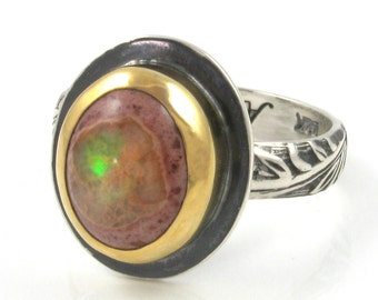Fire Opal Ring - 22K gold and Sterling Silver Mexican Fire Opal ring - US size 7 - mixed metal Mexican Boulder Opal ring - silver gold ring
