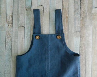 Hand Made Linen Baby Overalls - Hand Made Linen Romper Suit with Wooden Buttons - Hand Sewn Linen Dungarees