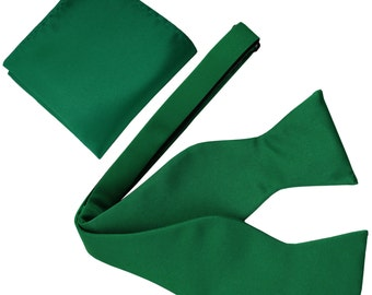 New Men's Solid Emerald Green Self-Tie Bowtie and Handkerchief, for Formal Occasions