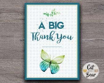 Thank You Card, Printable Thank You Card, Butterfly Thank You Card, Wedding Thank You, Birthday Thank You Card