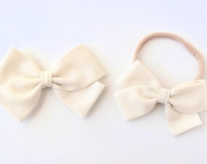 LINEN Bow- Cream- Baby Bow- Girl's Bow