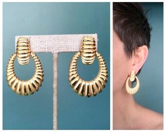 80s Gold Doorknocker Earrings, Large Earrings Statement Earrings Drop Earrings Big Earrings Hoop Earrings Modern Earrings Dangle Earrings