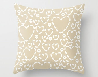 Hearts Pillow Cover - Modern Throw Pillow - Tan Beige and White - Accent Pillow - Nursery Decor - By Aldari Home