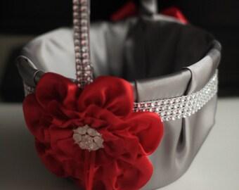 Red Flower Girl Basket \ red Ring Bearer Pillow \ Gray red Wedding Basket \ Wedding Ring Pillow, Gray Red Bearer, Gray Red basket pillow set