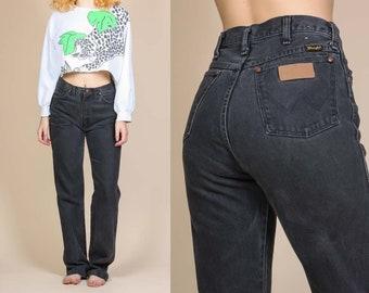 Vintage High Waisted Wrangler Jeans - Medium, 30x36 // 80s Black Denim Straight Leg LongPants