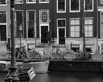 Amsterdam canal with bikes