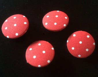 Fabric knobs red with dots