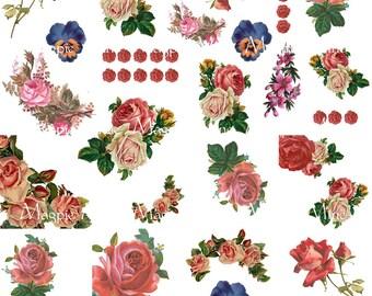 Vintage Roses - feuille de Collage Cottage Chic minable Style Roses - téléchargement immédiat - imprimable