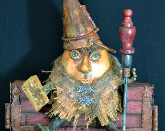 Humpty Dumpty from Alice in Wonderland - OOAK mixed media, assemblage, Nursery rhyme, art doll