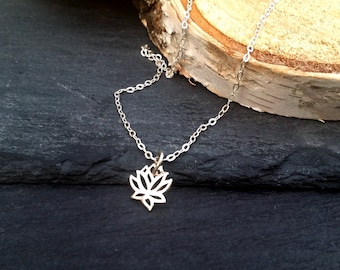 925 Sterling Silver Lotus Necklace   Lotus Flower Yoga Necklace   Protection Jewelry   Sterling Silver Delicate Necklace