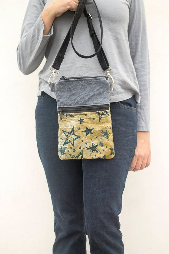Nomad Bag, Star Print, Waxed Canvas, Cross body Bag
