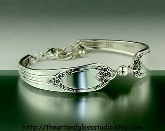 Silver Spoon Bracelet RAPTURE Jewelry Vintage, Silverware, Gift, Anniversary, Wedding, Birthday