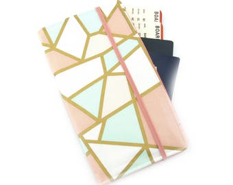Travel Wallet, passport holder, family travel wallet, travel organizer, passport wallet, document holder - Mint Peach and Gold