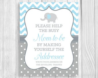 SALE Help Busy Mom-to-Be 8x10 Printable Write Your Address Elephant Baby Shower Sign - Light Blue Chevron Gray Polka Dots - Instant Download