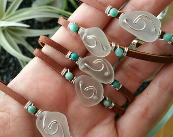 Sea glass bracelet, Sea glass wave, wire-wrapped leather bracelet, Beach glass bracelet, Wire wrapped bracelet, Leather bracelet