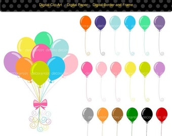 ON SALE Balloon Clip Art , kids party Balloons, digital clipart ,baby balloons clipart, INSTANT Download