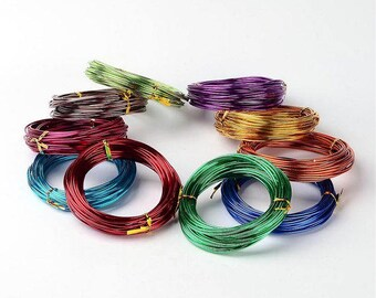 12 Gauge, 2mm Thick, Aluminum Wire - Assorted Colors, Rolls, 16 Feet Each
