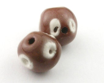 Brown Beads, stoneware beads, porcelain beads, Brown and white beads, artist beads, pair of beads, beads for earrings, beads for jewelry