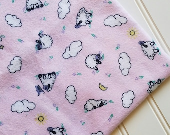 Marcus-Brothers-Fabric-By-The-Yard-Pink-Sheep-Clouds-Cotton-Flannel-Quilt-Fat-Quarter-Sew-DIY-Projects-Crafts-Supplies