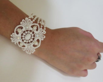 Lace bracelet with Acrylic Swarovski and pearls, Boho Bohemian vintage style wedding hair accessories.