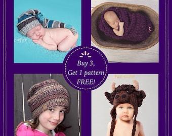Buy 3 Patterns, get 1 FREE, special, sale, crochet, digital download,
