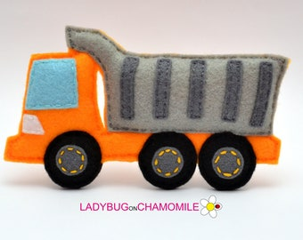 Felt HEAVY TRUCK, stuffed felt Heavy truck car magnet or ornament, Heavy truck toy, Technics, Vehicles, Nursery decor,heavy truck ,kids toy