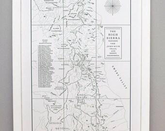 The High Sierra and the John Muir Trail Map, Letterpress Art Print