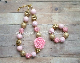 Pink and Gold Chunky Necklace, Pinkand Gold Baby Necklace, Pink and Gold Necklace, Pink and Gold Baby Necklace, Pink Gold