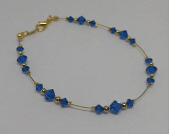 Gold Capri Blue (Bright Sapphire) Swarovski Crystal Anklet