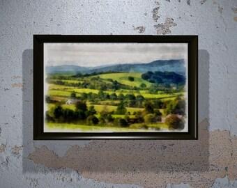 Beautiful Irish Countryside in Watercolor (print) Wall Art - Gift - Ireland - Wall art - Decor