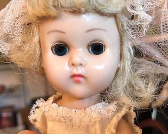 Vintage Vogue Ginny Bent Knee Walker Doll in Tagged Wedding Dress