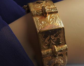 Vintage Antique Bates & Bacon Victorian 12KT Gold Filled Art Nouveau Architecural Etched Wedding Buckle Hinged Clamper Bangle Cuff Bracelet