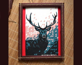 DEER artwork handmade of SAND in handmade paper frame
