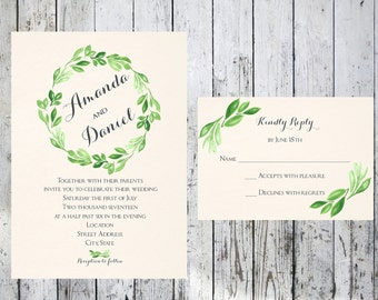 Greenery Leafy Wreath Wedding Invitation and Respond Card