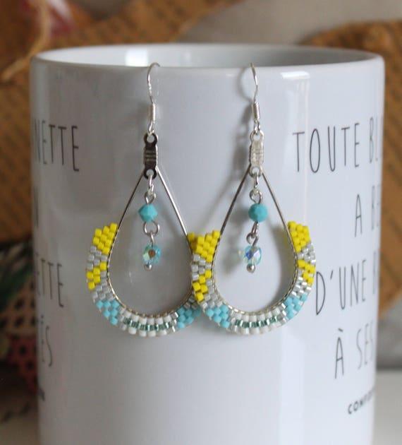Beadwoven earrings, dangle earrings, earrings yellow, turquoise, Silver earrings
