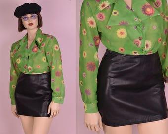 90s Black Leather Mini Skirt/ US 10/ 30 Waist/ 1990s