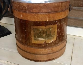 Vintage  firkin bucket, wood bucket, farmhouse  decor, vintage decor,primitive decor, planter, pail, rustic decor,