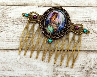 Mermaid hair comb, hair accessories tales, teal purple, little mermaid, girl hair comb, Fantasy, hair accessories for girls