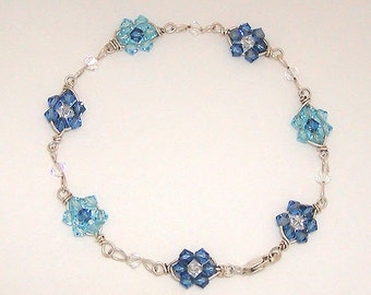 Swarovski crystal and sterling silver wire wrapped bracelet - Blue Flowers