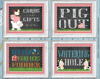 Farm Animals Party Signs -Watering Hole Sign - Pig Out - Little Farmers - Cards and Gifts - Red Gingham Pack of 4 Printable Instant download