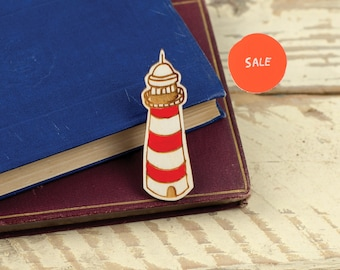 SALE! Lighthouse - Wooden Brooch