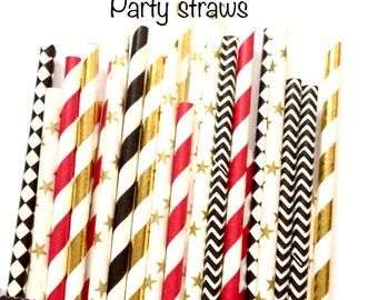 Movie Night-Black, Red and Gold stars paper straws-twinkle twinkle little star party, gold star paper straws, oscar party straws