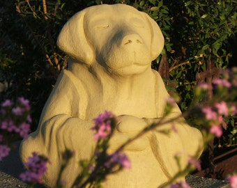 LARGE MEDITATING DOG - Solid Stone Original Copyrighted Home Garden Office Gift Sculpture. Choice of Colors, Will Last Forever.