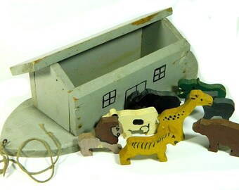 Old Hand Crafted Wooden Noah's Ark Toy with Eight Animals